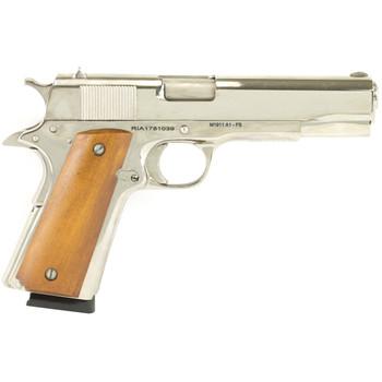 "Armscor Rock Island 1911, Full Size Pistol, 45ACP, 5"" Barrel, Steel Frame, Nickel Finish, Wood Grips, Fixed Sights, 1 Magazine, 8 Rounds 51433, UPC :4806015514336"