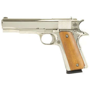 "Armscor Rock Island 1911, Full Size Pistol, 45ACP, 5"" Barrel, Steel Frame, Nickel Finish, Wood Grips, Fixed Sights, 1 Magazine, 8 Rounds 51433, UPC :4806015514336"