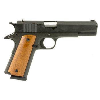"""Armscor Rock Island 1911, Full Size, 9MM, 5"""" Barrel, Steel Frame, Parkerized Finish, Wood Grips, Fixed Sights, 9Rd, Fired Case 51615, UPC :4806015516156"""