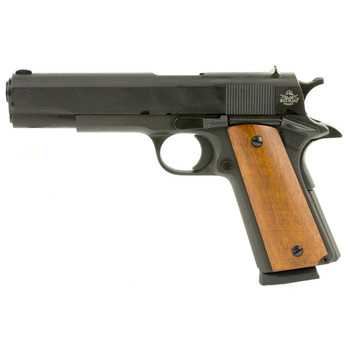 "Armscor Rock Island 1911, Full Size, 9MM, 5"" Barrel, Steel Frame, Parkerized Finish, Wood Grips, Fixed Sights, 9Rd, Fired Case 51615, UPC :4806015516156"