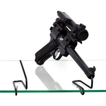 Gun Storage Solutions Handgun Front Kikstands, Vinyl Coated, Fits Guns As Small As .22 Caliber, 1 Per Stand, Attachs To Back Of Shelf, Black FKIK10, UPC :856691002416