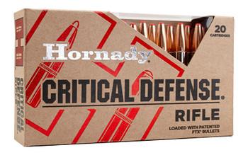 Hornady Critical Defense Rifle, 308 Winchester, 155 Grain, FlexTip, 20 Round Box 80920, UPC : 090255809206