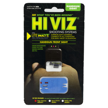 Hi-Viz Litewave Front Sight, Fits Ruger Full & Compact Size, Includes Red White Green Litepipes RGALW01, UPC :613485589436