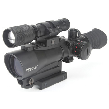 "BSA Optics Tactical Weapon Rifle Scope, 1X30, Red Dot, Fully Multi Coated Optics, Fast Focus, 4"" Eye Relief, Red Dot Reticle 650 nm 3R Red Laser and 140 Lumen Flashlight, Black TW30RDLL, UPC :793676041506"