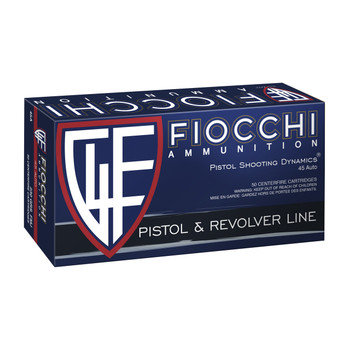 Fiocchi Ammunition Centerfire Pistol, 45ACP, 230 Grain, Full Metal Jacket, 50 Round Box 45A500, UPC :762344001166
