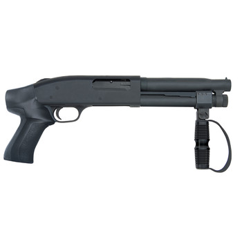 Mossberg 500 Compact Cruiser AOW. Pump Action, 12 Gauge, 8in Barrel, Black, Pistol Grip, 2 Rounds, Cylinder 51697, UPC : 015813516976