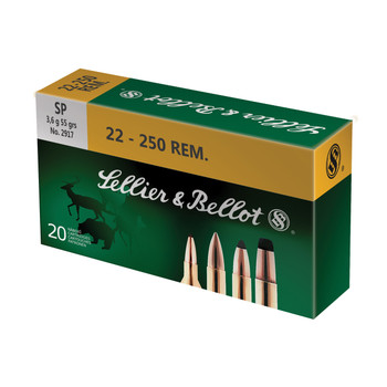 Sellier & Bellot Rifle, 22-250, 55 Grain, Soft Point, 20 Round Box SB22250B, UPC :754908511686