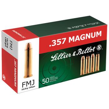 Sellier & Bellot Pistol, 357MAG, 158 Grain, Full Metal Jacket, 50 Round Box SB357A, UPC :754908500536