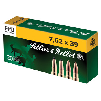 Sellier & Bellot Rifle, 762X39, 123 Grain, Full Metal Jacket, Non-Magnetic Projectile, 20 Round Box SB76239A, UPC :754908512416