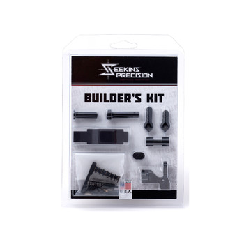 Seekins Precision Builder's Kit, Lower Receiver Parts Kit, 223 Rem/556NATO, Seekins Trigger Guard, Seekins Mag Release, Seekins Bolt Catch, Seekins Ambi Safety, Seekins Take Down Pins, Pins, Detents and Springs Needed for Build 0011510063, UPC :81145