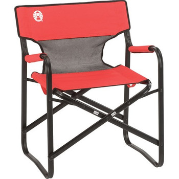 Coleman Chair Steel Deck W Mesh Red/Grey/Black 2000019421, UPC : 076501156126