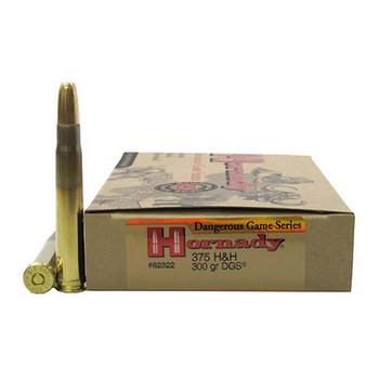 Hornady Dangerous Game Ammunition 375 H&H Magnum 300 Grain DGS Flat Nose Solid Box of 20, UPC : 090255823226