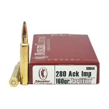 Nosler Trophy Grade Ammunition 280 Ackley Improved 160 Grain Partition Spitzer Box of 20, UPC : 054041600446