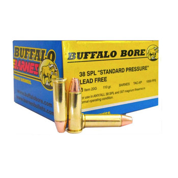 Buffalo Bore Ammunition 38 Special Short Barrel 110 Grain Barnes TAC-XP Hollow Point Lead-Free Box of 20, UPC :651815020266