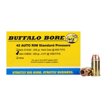 Buffalo Bore Ammunition 45 Auto Rim (Not ACP) 200 Grain Jacketed Hollow Point Box of 20, UPC :651815031026