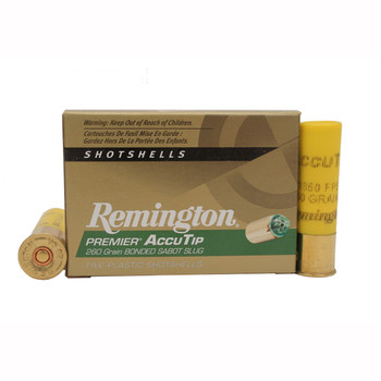 "Remington Premier Ammunition 20 Gauge 2-3/4"" 260 Grain AccuTip Bonded Sabot Slug with Power Port Tip Box of 5, UPC : 047700506906"