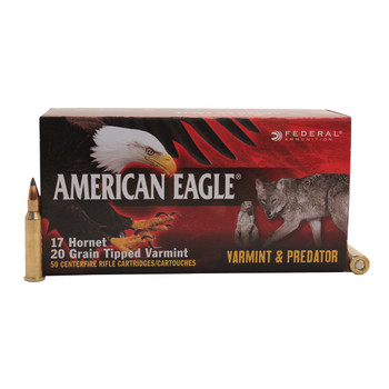 Federal American Eagle Varmint and Predator Ammunition 17 Hornet 20 Grain Tipped Varmint Box of 50, UPC :604544618006