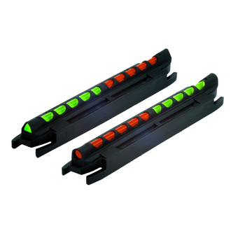 "HIVIZ Two-In-One Magnetic Base Front Sight Shotgun with .218"" to .328"" Vent Rib Fiber Optic Red/Green, Round/Triangular Reversible Combo Pack of 2, UPC :613485588606"