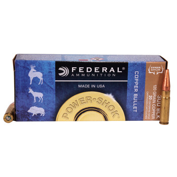 Federal Power-Shok Ammunition 300 AAC Blackout 120 Grain Copper Hollow Point Lead-Free Box of 20, UPC :604544627756