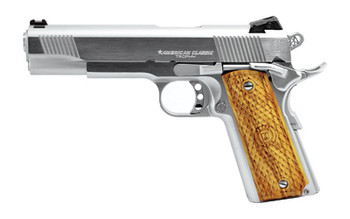 """American Classic 1911 Trophy, Full Size, 45ACP, 5"""" Barrel, Steel Frame, Hard Chrome Finish, Wood Grips, Novak Low Mount Carry Sights, 1 Magazine, 8 Rounds ACT45C, UPC : 094922351999"""
