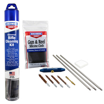 """Birchwood Casey Universal Rifle Cleaning Kit, 3 Cleaning Rod Sections 11"""", 1 Dual Axis Utility Handle, 1 .22 Patch Puller, 1 .22 Bronze Brush, 1 .25 Bronze Brush, 1 .270 Bronze Brush, 1 .30 Bronze Brush, 1 Silicone Gun and Reel Cloth, 25 Patches 1.5"""""""