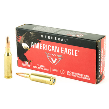 Federal American Eagle, 224 Valkyrie, 75 Grain, Total Metal Jacket, 20 Round Box AE224VLK1, UPC :604544630299