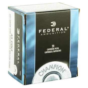 Federal Champion, 45LC, 225 Grain, Semi Wadcutter Hollow Point, 20 Round Box C45LCA, UPC : 029465093099