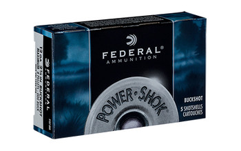 "Federal PowerShok, 12 Gauge, 2.75"", 000 Buck, 8 Pellets, 5 Round Box F127000, UPC : 029465009779"