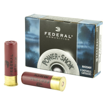 "Federal PowerShok, 12 Gauge, 3"", 00 Buck, Mag Dram, Buckshot, 15 Pellets,5 Round Box F13100, UPC : 029465009649"