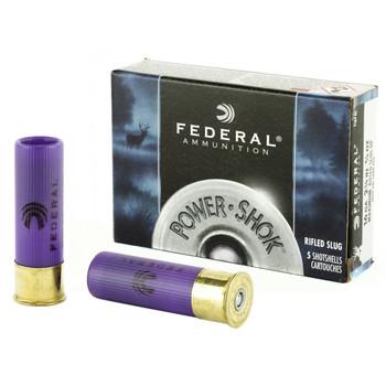 """Federal PowerShok, 16 Gauge, 2.75"""", Max Dram, .80oz, Rifled Slug, Hollow Point,5 Round Box F164RS, UPC : 029465009939"""
