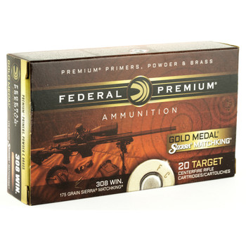 Federal Gold Medal Match, 308 Winchester, 175 Grain, Boat Tail Hollow Point, 20 Round Box GM308M2, UPC : 029465091729