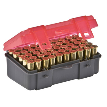 Plano Ammunition Box, Holds 50 Rounds of .357/.38 Sp/.38 Handgun Rounds, Charcoal/Rose , 6 Pack 1225-50, UPC : 024099122559