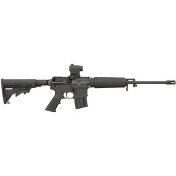 "Bushmaster Quick Response Carbine, Semi-automatic Rifle, 223Rem, 556NATO, 16"" Barrel, 1:8 Twist, Black Finish,6 Position Collapsible Stock, Mini Red-Dot Optic,10Rd, A2 Birdcage Flash Hider 91047, UPC :604206910479"