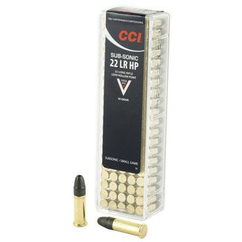 CCI/Speer Subsonic, 22LR, 40 Grain, Lead Hollow Point, 100 Round Box 56, UPC : 076683000569