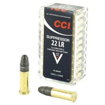 CCI/Speer Suppressor, 22LR, 45 Grain, Hollow Point, 50 Round Box 957, UPC : 076683009579