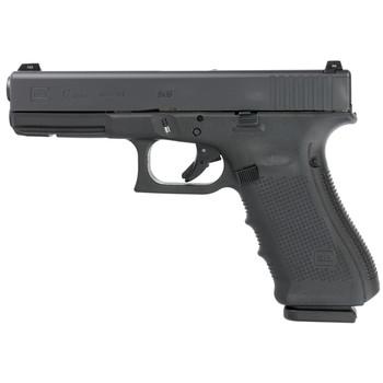 "Glock 17 Gen 4, Safe Action, Compact Pistol, 9MM, 4.48"" Barrel, Polymer Frame, Matte Finish, Fixed Sights, 17Rd, 3 Magazines, Glock OEM Rail, Glock Night Sights PG1750703, UPC :764503015359"