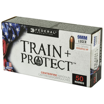 Federal Train & Protect, 9MM, 115 Grain, Verastile Hollow Point, 50 Round Box TP9VHP1, UPC :604544627329