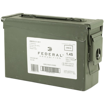 Federal XM855, 556NATO, 62 Grain, Full Metal Jacket, 420 Rounds on Stripper Clips in Ammunition Can XM855LC1AC1, UPC : 029465563189