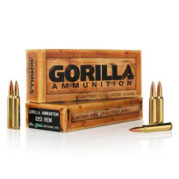 Gorilla Ammunition Company LLC 223 Rem, 77 Grain, Boat Tail Hollow Point, Sierra MatchKing, 20 Round Box GA22377SMK, UPC :858934003129