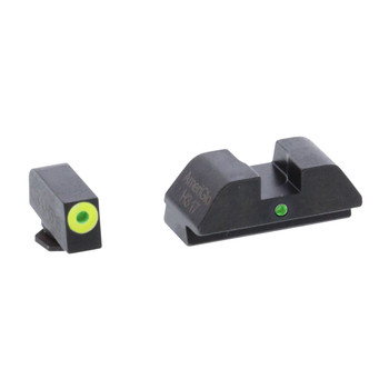 AmeriGlo I-Dot, Sight, Fits Glock 42 and 43, Green Tritium Lime Green LumiLime Outline Front with Green Rear GL-305, UPC :644406909279