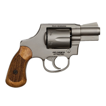 """Armscor 206 Double Action, 38 Special, 2"""", Alloy, Matte Nickel Finish, Wood Grips, Right Hand, Fixed Sights, 6 Rounds 51289, UPC :4806015512899"""