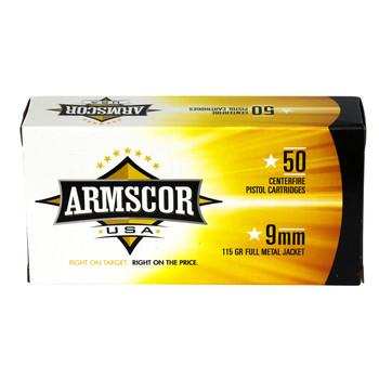 Armscor 9MM, 115 Grain, Full Metal Jacket, 50 Round Box FAC9-2N, UPC :812285022529