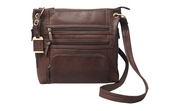 Bulldog Cases Cross Body Purse Holdter, Fits Most Small Autos, Leather, Brown BDP-039, UPC :672352010909