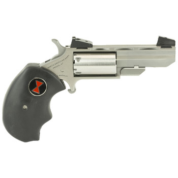 """North American Arms Black Widow, Revolver, Single Action, 22LR, 22WMR, 2"""", Steel, Stainless, Rubber, 5Rd, 8.8oz, Adjustable Sights NAA-BWCA, UPC :744253000379"""
