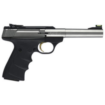 "Browning Buck Mark, Camper, Semi-automatic, 22LR, 5.5"" Barrel, Aluminum Frame, Stainless Finish, URX Grip, 10Rd, Fiber Optic Front Sight 051442490, UPC : 023614257349"