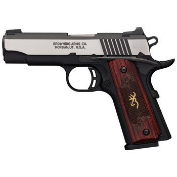 """Browning 1911-380, Black Label, Medallion, Pro Compact, Semi-automatic, 380ACP, 3.63"""" Barrel, Aluminum Frame, Black And Stainless Finish, Wood Grips, 8Rd 051913492, UPC : 023614443759"""