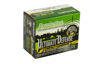 Remington Compact Ultimate Home Defense, 45ACP, 230 Grain, Brass Jacketed Hollow Point, 20 Round Box 28967, UPC : 047700428109