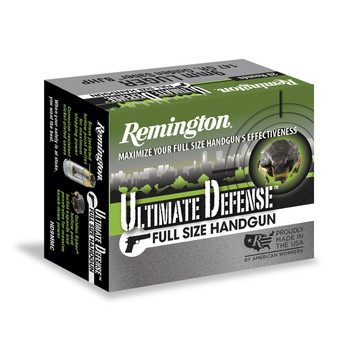 Remington Ultimate Defense, 9MM+P, 124 Grain, Brass Jacketed Hollow Point, 20 Round Box 28948, UPC : 047700471709