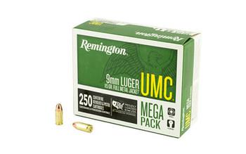 Remington UMC, 9MM, 115 Grain, Full Metal Jacket, Mega Pack,  250 Round Box 23777, UPC : 047700364209
