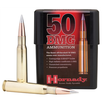 Hornady Match, 50BMG, 750 Grain, AMAX, Not for Semi-Auto, 10 Round Box 8270, UPC : 090255382709